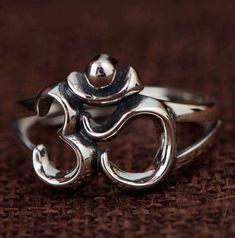 925 Sterling Silver OM Ring, Rings Adjustable Six True Words Summer Jewelry, Boho Jewelry, Jewellery, Om Symbol, Wire Rings, True Words, Unique Rings, Jewelry Trends, Sterling Silver Rings