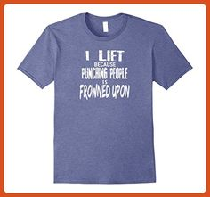 Mens Funny Weight Lifting Shirt I LIFT Because Punching People 2XL Heather Blue - Workout shirts (*Partner-Link)