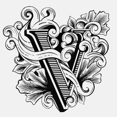 Handlettering V using procreate app on iPad pro Gothic Lettering, Types Of Lettering, Lettering Design, Alphabet Style, Gothic Tattoo, Fancy Letters, Demon Art, Tattoo Script, Leather Carving