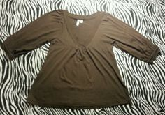 ~ Old Navy Brown Babydoll Puff Sleeve Shirt Top Size S ~EUC