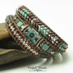 TRIPLE WRAP LEATHER Bracelet-Turquoise-Copper-Boho Leather Wrap--Boho Bracelet-Hippie Bracelet-Wrap Bracelet-Southwest-Tribal(TW21C) by CinfulBeadCreations on Etsy