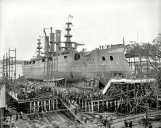 "October 1904. Bath, Maine. ""Bath Iron Works. Launch of battleship Georgia."
