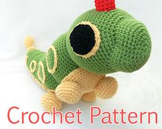 This crochet pattern will teach you how to make a life size Caterpie plush. The finished plush is about 50 cm long. He is great for cuddling! Cute Crochet, Crochet For Kids, Crochet Crafts, Yarn Crafts, Crochet Toys, Sewing Crafts, Knit Crochet, Pokemon Crochet Pattern, Amigurumi Patterns