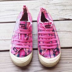 Rocket Dog pink plaid slip-on sneakers  Rocket Dog pink plaid elastic sneakers, size 7, missing one elastic band on one shoe (as shown) but fit remains the same. Rocket Dog Shoes Sneakers