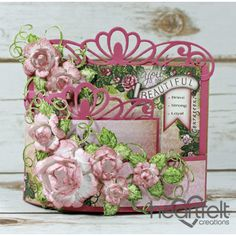 Gallery | Pink Dusty Rose Bendi Card - Heartfelt Creations, Card with flowers