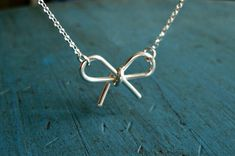 Sterling Silver Bow Necklace Simple Minimalist Jewelry bridesmaid gifts Girlfriend gift Tie the Knot gift via Etsy