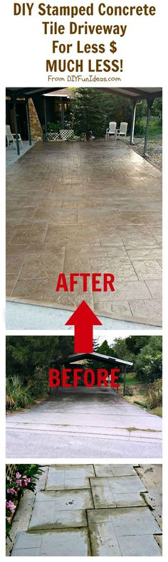 Gorgeous Diy Stamped Concrete Tile Driveway For Less $...much Less
