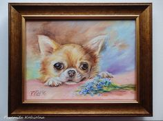 Forget me not Chihuahua Art DOG PORTRAIT  by CanisArtStudio