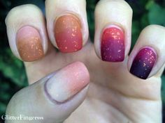 Colorful glitter ombre nail art. For more Nail Art ideas, visit www.nailartbank.com