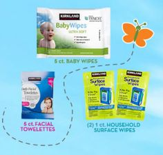 Costco Members: FREE Sample of Kirkland Baby Wipes, Facial Towelettes and Household Surface Wipes