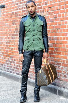 Keith (22 - designer) wears Jacket (customized) by H&M, vintage leather Shirt, Pants by Zara, Boots by Prada