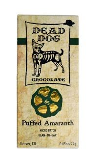 """65% PUFFED AMARANTH  Dominican Republic """"La Red"""" 2013  Nutty in flavor, this bar resembles the traditional Mexican candy, """"Dulce de Alegria"""". The puffed amaranth is candied with wildflower honey giving the bar a sweet and light crunch.  ETHICALLY SOURCED ORGANIC CACAO  GLUTEN AND SOY FREE"""