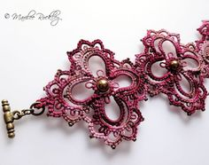 Tatted lace bracelet shaded burgundy with brass ♡♥ by yarnplayer, $40.00
