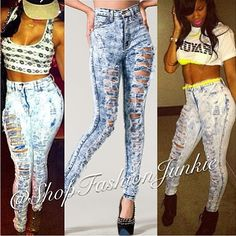 Vintage High Waisted Double Sided Ripped Jeans Slit Distressed ...