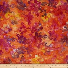 From Textile Creations, this Indonesian batik fabric is perfect for quilting, apparel and home decor accents. Colors include shades of orange, shades of purple, shades of yellow, and shades of pink.