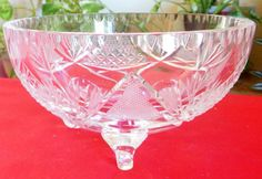 Clear Cut Crystal Round 3-Toed Candy Nut Bowl Thumbprint Cut Rim #Unbranded