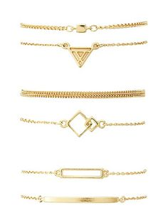 Geometric Charm Bracelets - 6 Pack #charlotterusse #charlottelook