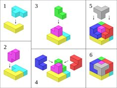 Soma cube - Wikipedia, the free encyclopedia Maze Puzzles, Wooden Puzzles, 3d Puzzel, Diy And Crafts, Paper Crafts, Cube Design, Cube Puzzle, Origami Tutorial, Wood Toys
