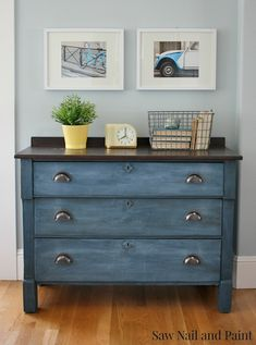 Two coats old fashioned milk paint in soldier blue. Sealed with general finishes in flat.