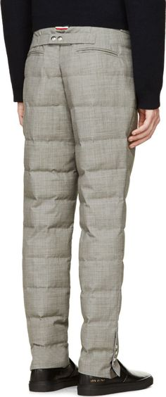 Moncler Gamme Bleu Grey Quilted Wool Trousers