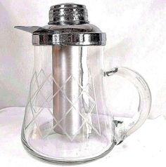 Vintage Glass Etched Pitcher Chrome Lid Gilley, Inc. CHILLIT PITCHER Chillitube