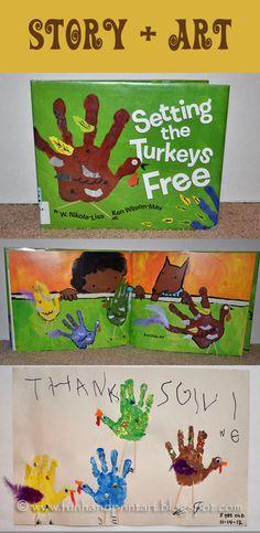 Handprint craft to go along with Setting the Turkeys Free by W. Nikola-Lisa