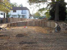 Wood retaining wall