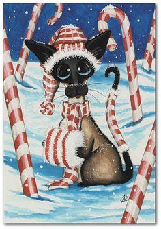 Siamese Cat Winter Snow Christmas Candy Cane Pet ArT - 5x7 Print by AmyLyn Bihrle
