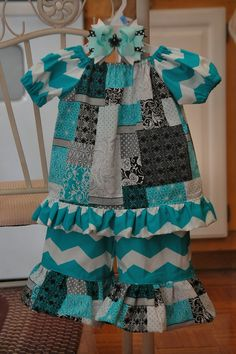 Blue Chevron ruffle pants and Peasant shirt set with matching bow