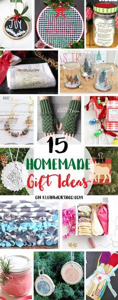 15 Homemade Gift Ideas make gift giving easy. Using items you probably have on hand you can make a gift from the heart. Fun for the holidays via @KleinworthCo