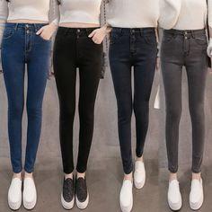 46c903d7cdc40 Autunno Donna Vita Alta Jeans Casuali Del Denim Skinny Plus Size Matita  Pantaloni casual pantaloni jeans scarni sottili pantaloni femminili