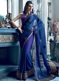 Buy Vishal Blue Embroidered Saree for Women Online India, Best Prices, Reviews | VI532WA23JRWINDFAS