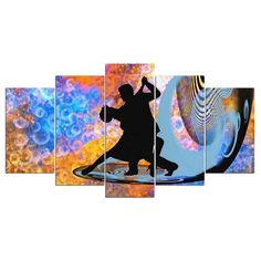 Abstract Couple Dance 5 Piece HD Multi Panel Canvas Wall Art Frame - Small - 29 X 13 / Frame