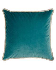 Avignon Teal (Blue) Velvet European Sham with Flax-Colored Flange