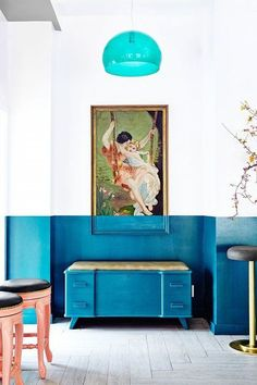 Feeling blue. A playful way to break up the lines in the room.