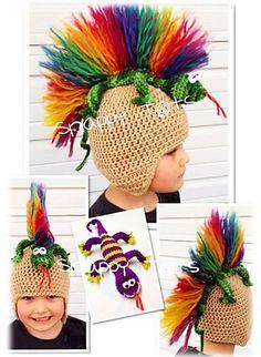 the Gecko Hat and Stuffie pattern by Heidi Yates Greg the gecko hat and stuffie crochet pattern.Greg the gecko hat and stuffie crochet pattern. Crochet Crafts, Yarn Crafts, Crochet Projects, Crazy Hat Day, Crazy Hats, Crochet For Kids, Crochet Baby, Knit Crochet, Crochet Dolls
