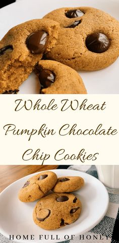 These Whole Wheat Pumpkin Chocolate Chip Cookies are soft, chewy and full of fall flavors with whole grains and less sugar than most cookie recipes! Pumpkin Recipes Healthy Easy, Easy Desserts, Dessert Recipes, Recipes Dinner, Healthy Desserts, Pumpkin Chocolate Chip Cookies, Chocolate Chip Recipes, Homemade Chocolate, Pumpkin Dessert