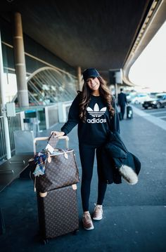 Monday, November 21, 2016 What I Wore Traveling Home From Paris + 10 Tips For Long Flights - SWEATSHIRT: Adidas | LEGGINGS: Zella | TENNIS SHOES: Nike | TOTE: Louis Vuitton Nevderful GM | LUGGAGE: Louis Vuitton Horizon 55 | BASEBALL CAP: BP | EARRINGS: Nadri | BLANKET SCARF: Love Always | JACKET: purchased in Paris