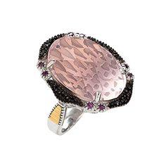 Ss Ruthenium 18k 1 -22x16 Dome Ck Flat Bottom Rose Qtz 2.7mm Ring 8-1.5 Rhodolite 12-0.01ct - Ring Size Options Range: N to R
