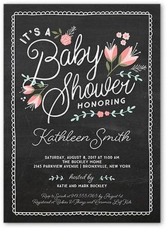 Baby Shower Invitation: Crafty Florals, Square Corners, Black