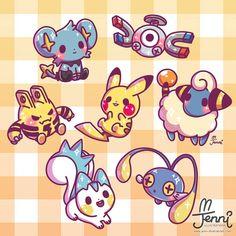 Electric Pokemon ⚡⚡⚡ Forgot to post this when I drew the other pokemon types 😫 haha . Cute Kawaii Drawings, Kawaii Doodles, Kawaii Art, Type Pokemon, Pokemon Fan Art, Pokemon Shinx, Fotos Do Pokemon, Pokemon Original, Cute Pokemon Wallpaper