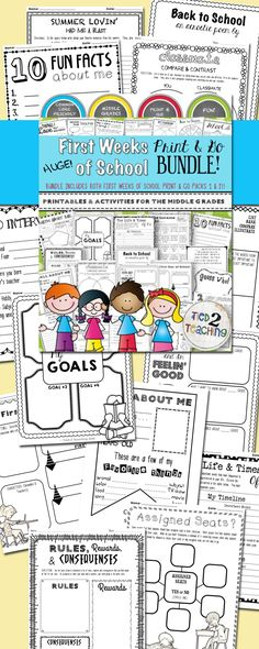 First Weeks of School Print & Go Resource Bundle contains BOTH the First Weeks of School Print & Go Pack 1 and First Weeks of School Print & Go Pack 2!!! This huge resource gives you a plethora of ideas, activities and printables to make the first days of school memorable as you kick the year off on the right foot! In this bundle you will find resources like Get To Know You activities, Questionnaires and Surveys, Summer Reflections, Goal Setting, Math About Me, I AM poem, AND SO MUCH MORE!!!