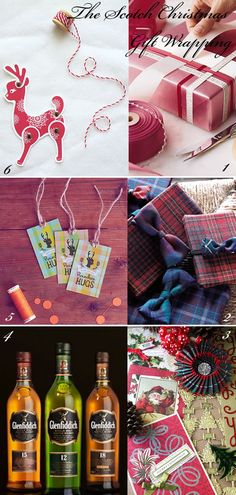 Scottish Christmas Wrapping.  At Christmas time in Scotland a favourite gift to give a friend, neighbour  is a bottle of Scotch Whisky.  Always wrapped in tartan Christmas Wrapping.  Also tins of Shortbread and fudge are great gifts for those near and dear to you. Photo: glamourdrops.com