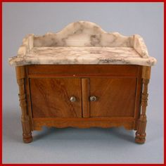 Schneegas Antique German Doll House Miniature Marble Top Washstand ...