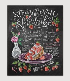 Strawberry Shortcake Recipe Print- summer recipe art for the kitchen, picnic, or home decor. Chalk art recipe.