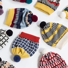Colorful pompom beanies knitted of merino wool |MARGOT & ME