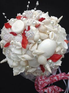 Beach Wedding Valentine Seashell Bouquet Red White