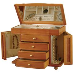 Oak Finish Jewelry Box (12610 RSD) ❤ liked on Polyvore featuring home, home decor and jewelry storage