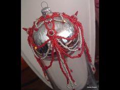 Tutorial Sulaman Manik : Beaded Christmas Ornament (Ball Cover) with Spike beads Beading Tutorial by HoneyBeads -     - http://kelasmanikcrumble.com/tutorial-sulaman-manik-beaded-christmas-ornament-ball-cover-with-spike-beads-beading-tutorial-by-honeybeads/