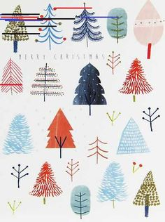 christmas illustration Now we are in December Print amp; Pattern will be going full steam ahead on Christmas design. Ill be posting the various cards and wrap I ha. Christmas Design, Christmas Art, Christmas And New Year, All Things Christmas, Winter Christmas, Christmas Decorations, Christmas Tree Drawing, Christmas Watercolour Cards, Christmas Ideas